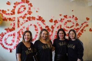 Molly Gun, Holly Tucker, Emma France and Giovanna Fletcher sporting the amazing new MAMA STARS t-shirts
